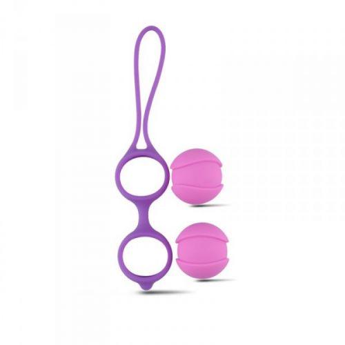 Комплект вагинальных шариков для тренировки мышц влагалища Vaginal Balls Bi-Balls Double Purple