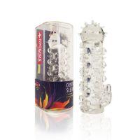Насадка на член силиконовая Crystal sleeve L 11,5 см D 2 см, с усиками и пупырышками