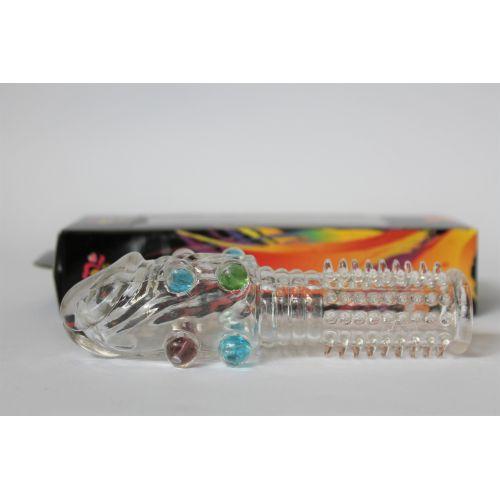 Насадка закрытая с головкой шариками и пупырышками Неземной Кайф Crystal sleeve L 13 см D 2 см силиконовая