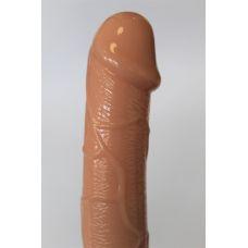 Страпон анатомический с анальной цепочкой виниловый без ремней с вибрацией Erowoman L 16,5 см D 3,5 см