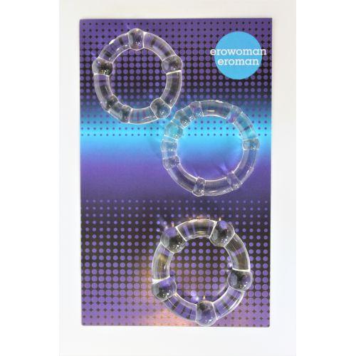 Набор прозрачных эрекционных колец 2/2,2/2,3 см силиконовых со стимуляцией клитора EROMAN 3 шт