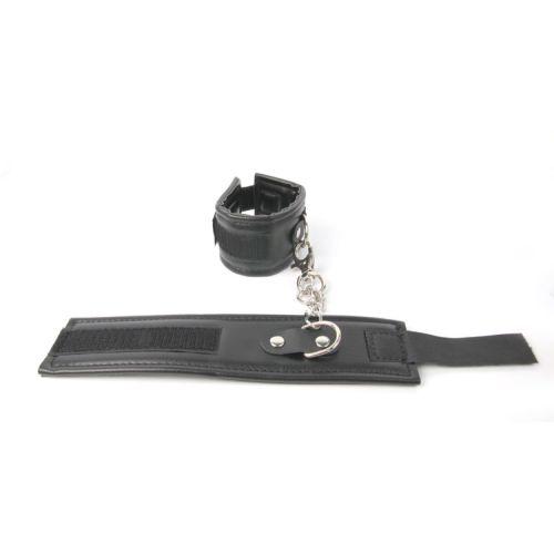 Наручники черного цвета из искусственной кожи универсального размера на липучках EROKEY