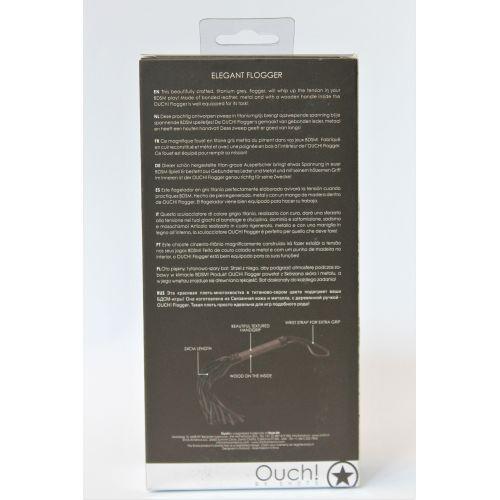 Плеть с петлей на рукоятке из экокожи титаново-серого цвета EROKEY L рукояти 150 мм L хвоста 240 мм