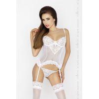 Интимный женский корсет JANET CORSET white L/XL - Passion