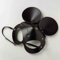 Маска кожаная с ушками черная Mickey Mouse Leather