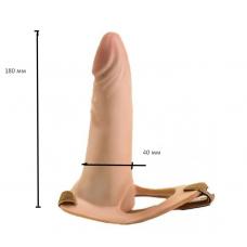 Пустотелый страпон для мужчин телесного цвета на ремнях EGZO