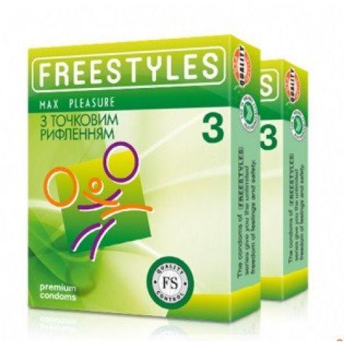 Презервативы с точечным рифлением FREESTYLES №3 Max Pleasure Максимум удовольствия Пролонгация Фристайлс