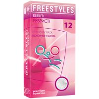 Презервативы ребристые увлажненные FREESTYLES RIBBED 12 штук Фристайлс