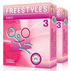 Презервативы ребристые увлажненные FREESTYLES RIBBED 3 шт Фристайлс