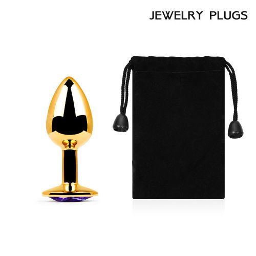 Металлическая анальная втулка Anal Jewelry Plug золотая с фиолетовым кристаллом L 72 мм D 28 мм вес 50г