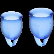 Менструальная чаша силиконовая набор 2 шт Feel Confident цвет синий Satisfyer (Сатисфаер)