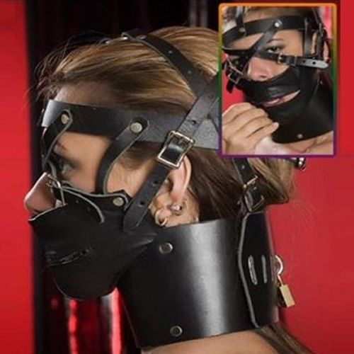 Черный намордник на лицо с ошейником для БДСМ