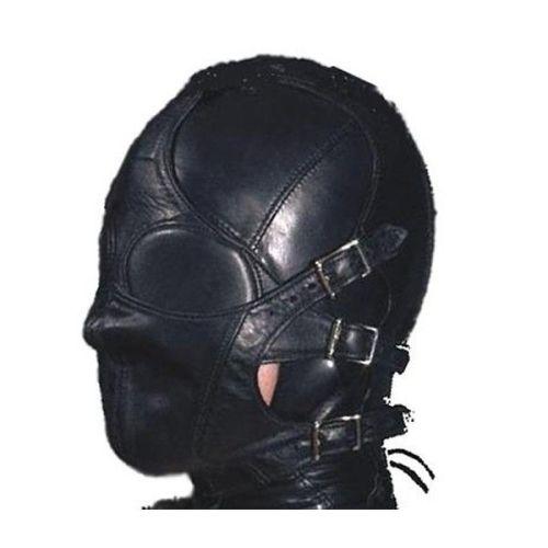 Маска кожаная с ремнями на лице для БДСМ