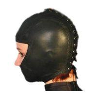 Кожаная черная закрытая маска для головы с отверстием для глаз IXI13577