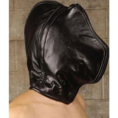 Маска на лицо с капюшоном кожаная черная для БДСМ