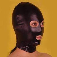 Черная виниловая маска на лицо с вырезами для БДСМ-игр
