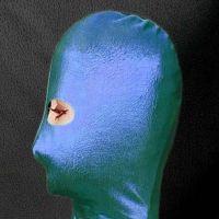 Синяя БДСМ маска из винила на лицо с вырезами для глаз