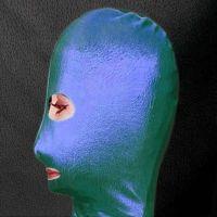 Зеленая виниловая маска на лицо с вырезом для глаз и рта