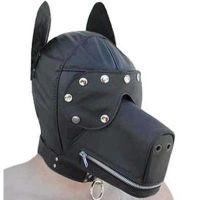 Маска-собака кожаная черная