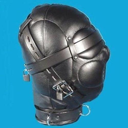 Черная кожаная маска на лицо для БДСМ-игр
