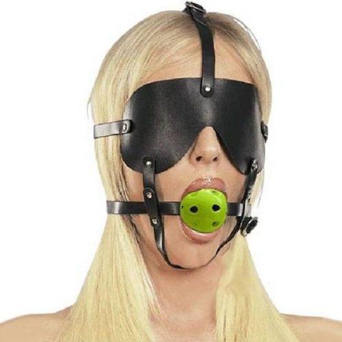 Кляп для рта из пластика с маской на глаза и фиксаторами черный