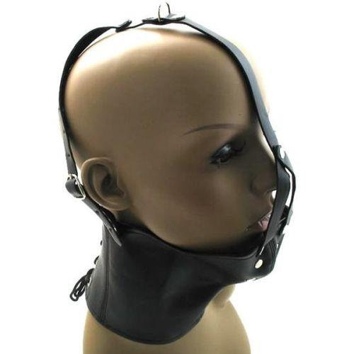 Черный кожаный намордник с кляпом в рот для БДСМ