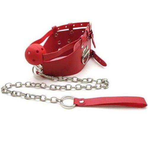 Красный кляп в рот с цепью для БДСМ