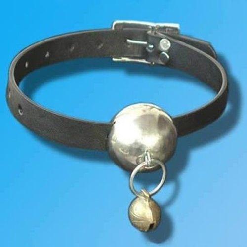 Кожаный кляп для рта черный с металическим шариком