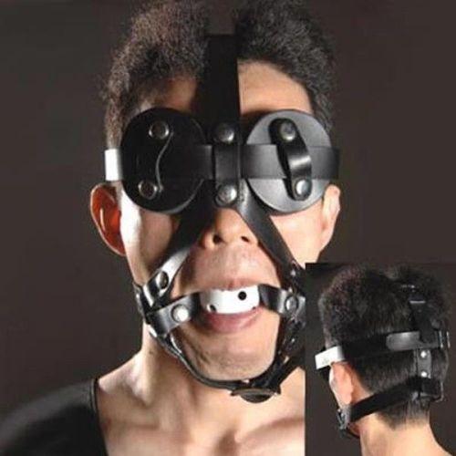 Черный кожаный намордник с белым кляпом для рта
