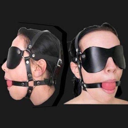 Черная маска на глаза с красным шаром-кляпом для рта