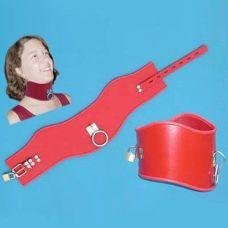 Красный кожаный широкий ошейник для БДСМ