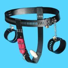 Пояс верности женский черный с наручниками и анальной пробкой с вибрацией