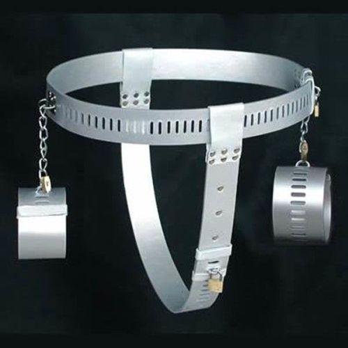 Серебряный женский пояс верности с наручниками