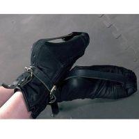 Черные наножники-носочки с молнией из кожи