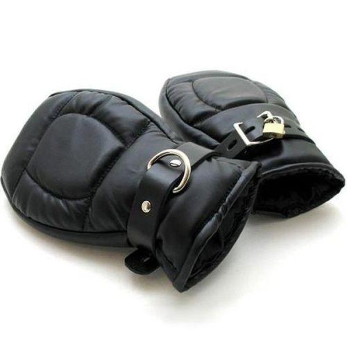 Сексуальные наручники-перчатки из кожи черные для БДСМ