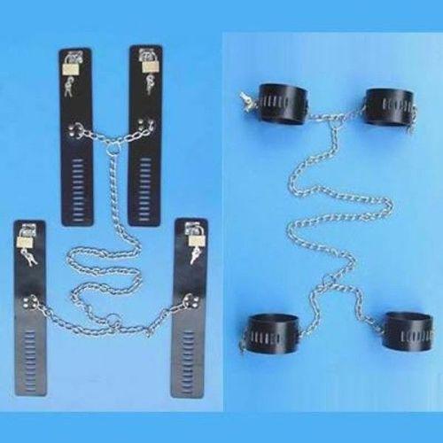 Черный кожаный бондаж БДСМ для рук и ног