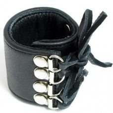 Кожаный черный БДСМ фиксатор для полового члена на шнуровке