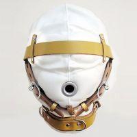 Бело-бежевая маска на лицо кожаная для БДСМ