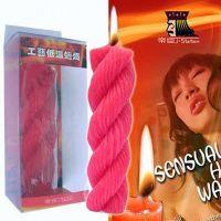 Свеча спиралевая розовая для БДСМ