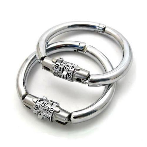 Металлические наручники с кодовым замком для БДСМ размер L
