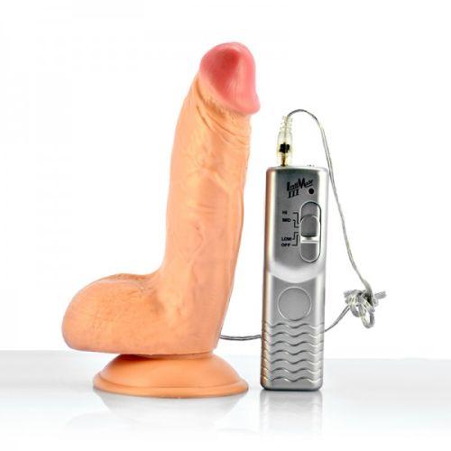 Фаллоимитатор силиконовый на присоске с вибрацией Lovetoy телесный
