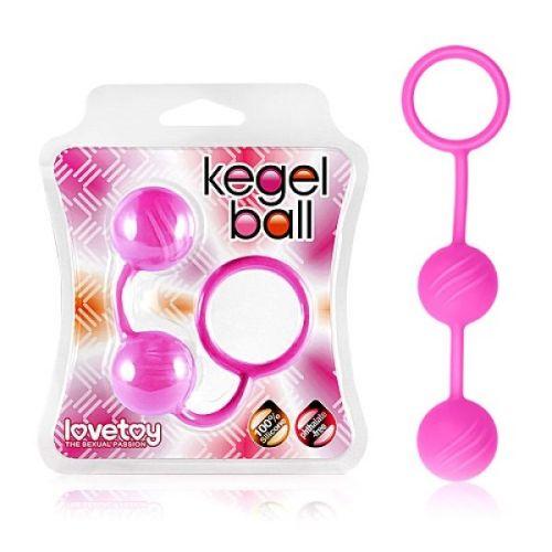 Вагинальные шарики ребристые силиконовые Lovetoy розовые