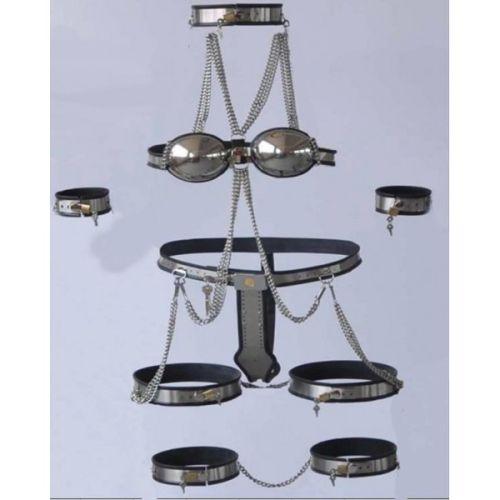 Female Fully Adjustable Model-T Stainless Steel Premium Chastity 8 Pcs Kit