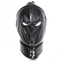 Маска кожаная на лицо черная БДСМ