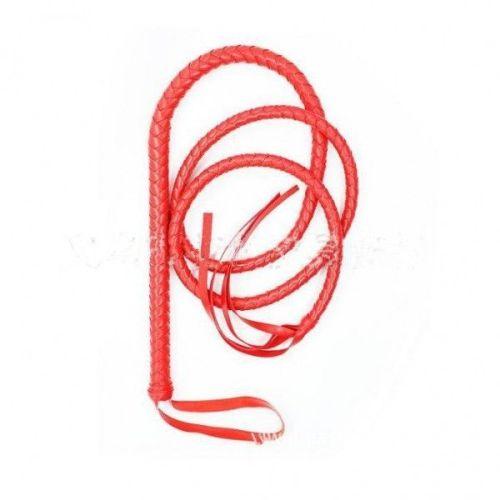 Кнут кожаный красный для БДСМ-игр