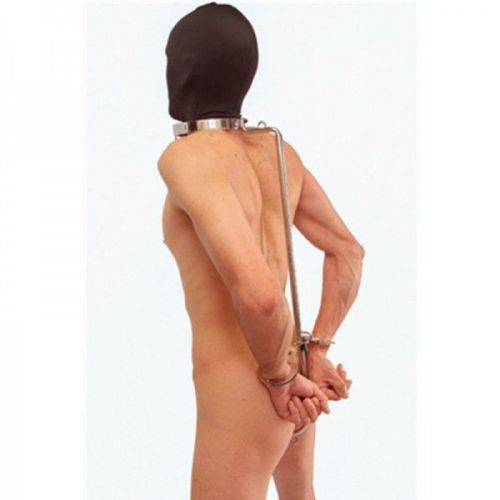 Unisex Stainless steel collar with anal hook / unique BDSM bondage device