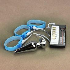 Анальная втулка и кольца на пенис с электростимуляцией размер L
