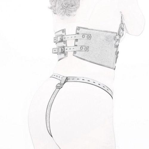 Женское белье кожаное черное для БДСМ