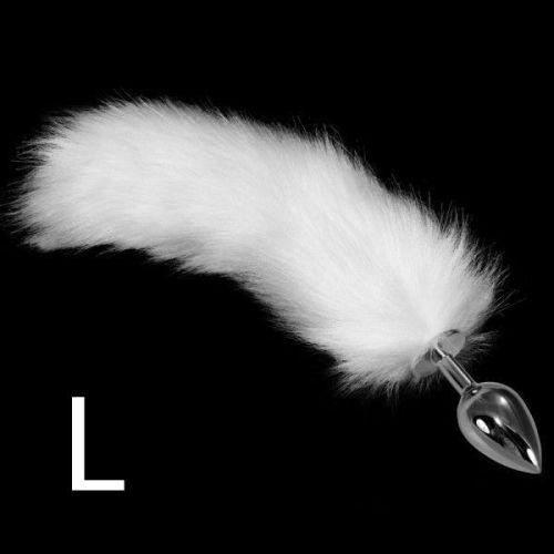 Анальная пробка металлическая Lovetoy с белым хвостом