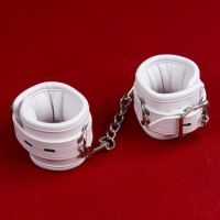 Кожаные наножники белые для БДСМ-игр